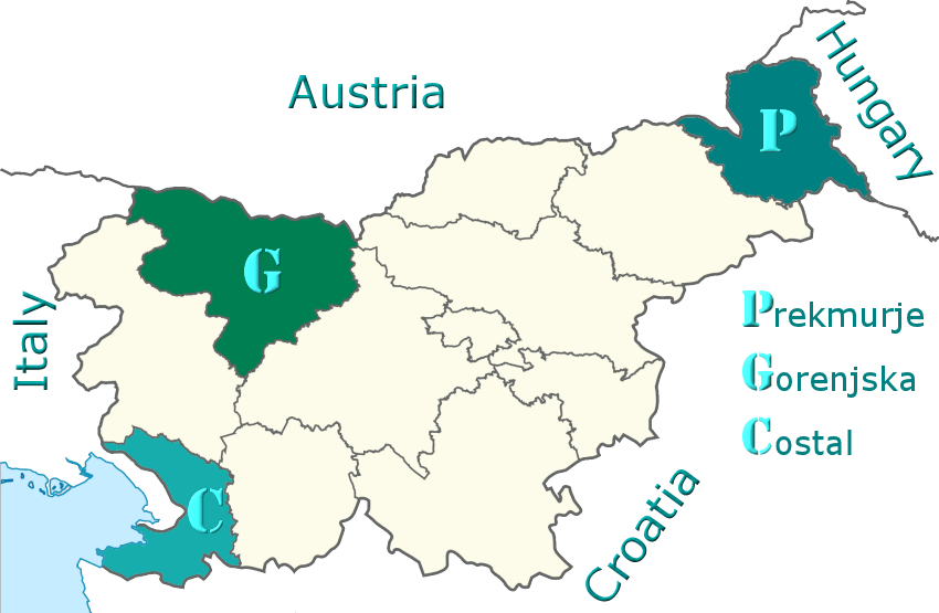 Location of Prekmurje,  Gorenjska (Upper-Carniola - Julian Alps) and Costal-Karst (Slovenian Adriatic Coast) provinces