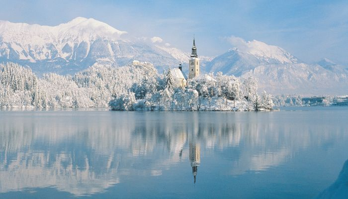 Lake Bled, Julian Alps, Upper-Carniola, Winter